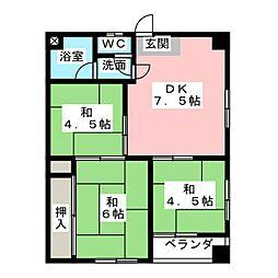 シーズンコート菊園[3階]の間取り