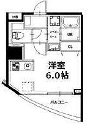 神楽坂5丁目ビル 4階ワンルームの間取り