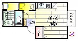 大阪府吹田市新芦屋上の賃貸アパートの間取り