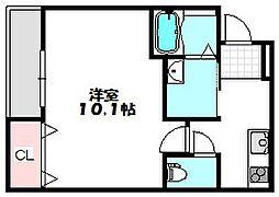 大阪府守口市西郷通1丁目の賃貸アパートの間取り