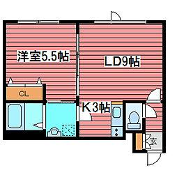 ビストロ・シエ・モア月寒[3階]の間取り