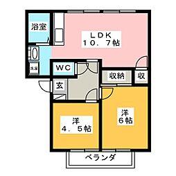 カーサ羽島 A[1階]の間取り