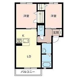 大阪府東大阪市岸田堂南町の賃貸アパートの間取り