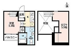 プランタン六本松[2階]の間取り