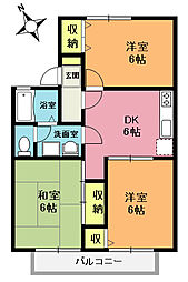 埼玉県上尾市泉台2丁目の賃貸アパートの間取り