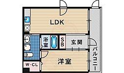 南海高野線 堺東駅 徒歩12分の賃貸マンション 2階1LDKの間取り