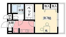 兵庫県西宮市大森町の賃貸アパートの間取り