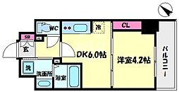 S-RESIDENCE阿波座WEST 2階1DKの間取り