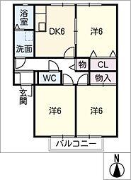 シャローム林 B棟[2階]の間取り