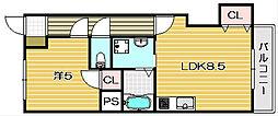 第一萩谷マンション[401A号室]の間取り
