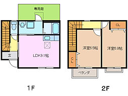 [テラスハウス] 三重県鈴鹿市南堀江1丁目 の賃貸【/】の間取り