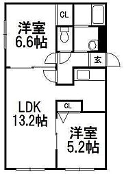 北海道札幌市手稲区富丘二条3丁目の賃貸アパートの間取り