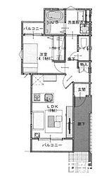 JR筑肥線 下山門駅 徒歩4分の賃貸アパート 1階1LDKの間取り