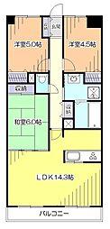 東京都小平市花小金井4丁目の賃貸マンションの間取り
