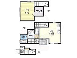 阪急神戸本線 武庫之荘駅 徒歩19分の賃貸アパート 2階1DKの間取り