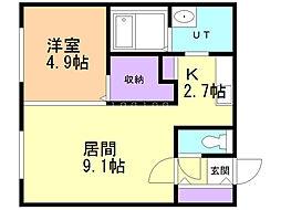 SAKURAコンフォートK 1階1LDKの間取り