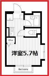 東京都荒川区東尾久2の賃貸アパートの間取り