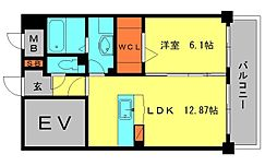 ラ・フレーズ 2階1LDKの間取り