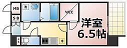 JR大阪環状線 玉造駅 徒歩9分の賃貸マンション 13階1Kの間取り