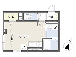 South Orchid N. 1階ワンルームの間取り