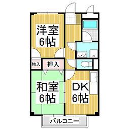 プランタン津崎 1階2DKの間取り