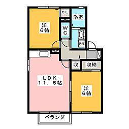 シャトーアサヒIII[1階]の間取り