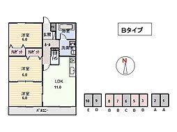 竹屋台ハウス3[3303号室]の間取り