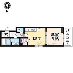 JR山陰本線 太秦駅 徒歩8分の賃貸アパート 1階1DKの間取り
