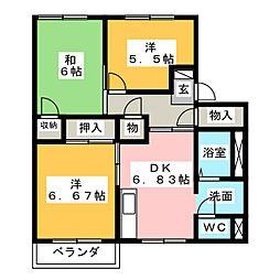 フレグランスNUNAMI C棟[2階]の間取り