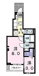 JR山陽本線 廿日市駅 徒歩15分の賃貸アパート 1階1Kの間取り