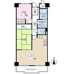 サンマンション楠公5階Fの間取り画像