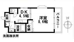 愛知県名古屋市瑞穂区萩山町3丁目の賃貸マンションの間取り