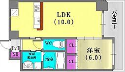 兵庫県神戸市兵庫区駅南通2丁目の賃貸マンションの間取り