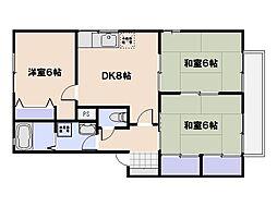 サニーハイツC棟[1階]の間取り