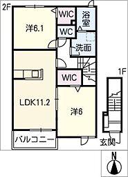 レディバード B棟[2階]の間取り