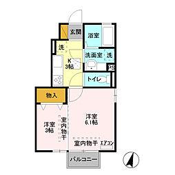 栃木県栃木市国府町の賃貸アパートの間取り