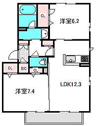 Osaka Metro谷町線 守口駅 徒歩13分の賃貸マンション 2階2LDKの間取り