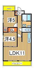 マンションフジフィールド[305号室]の間取り