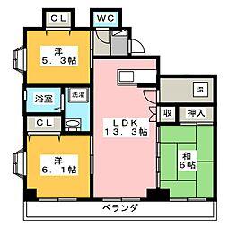 ライオンズ高島[9階]の間取り