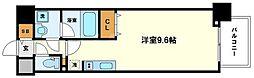 コンフォリア京町堀 13階ワンルームの間取り