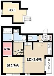 FAUSTA 2階1LDKの間取り