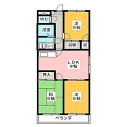 ファミール西浜田 南館[1階]の間取り