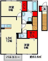 クリザンテームレテ[2階]の間取り