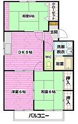 ファミールカワテA棟[1階]の間取り