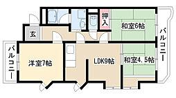 愛知県名古屋市天白区音聞山の賃貸マンションの間取り