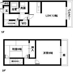 [タウンハウス] 大阪府貝塚市三ツ松 の賃貸【/】の間取り