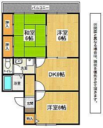 福岡県北九州市小倉南区中曽根1丁目の賃貸アパートの間取り