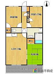 福岡県八女市本村の賃貸マンションの間取り