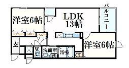 グランマーリエ 2階2LDKの間取り
