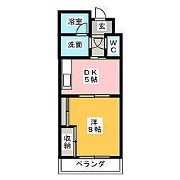 ビューラー南台A[2階]の間取り